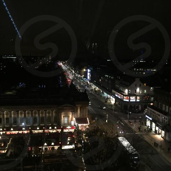 princess Street Edinburgh Scotland. Beautiful at night. photo
