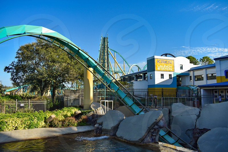 Orlando Florida . February 26  2019. People having fun terrific Kraken rollercoaster at Seaworld Theme Park (3) photo