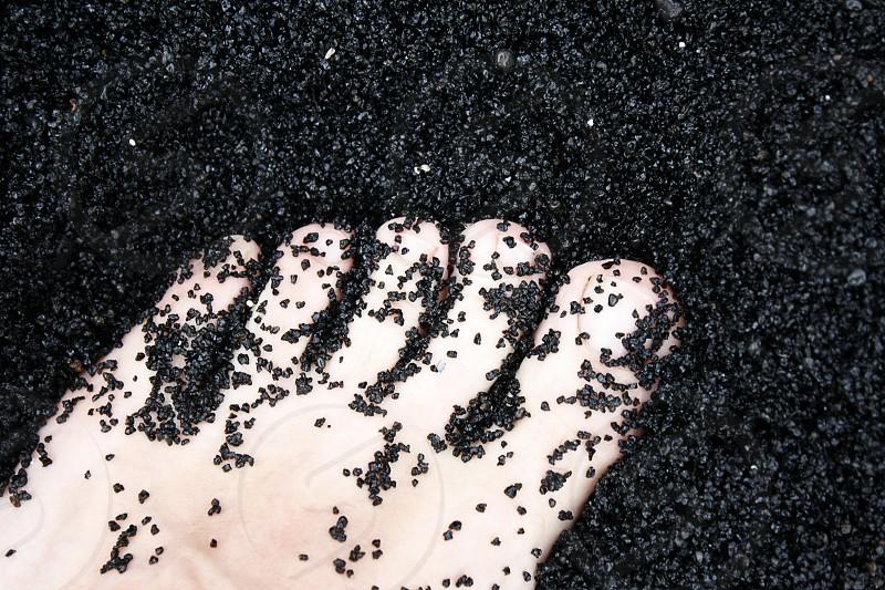 Hawaii Black Beach Sand Feet photo
