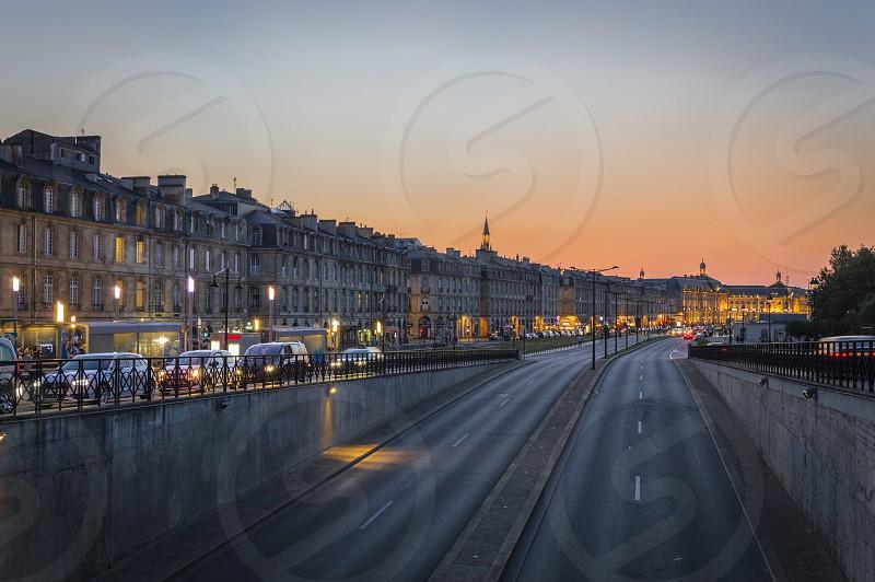 Sunset on the Richelieu quay of Bordeaux France. Near the Garonne River. photo