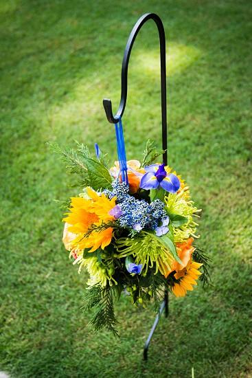 bundle basket flowers hainging photo