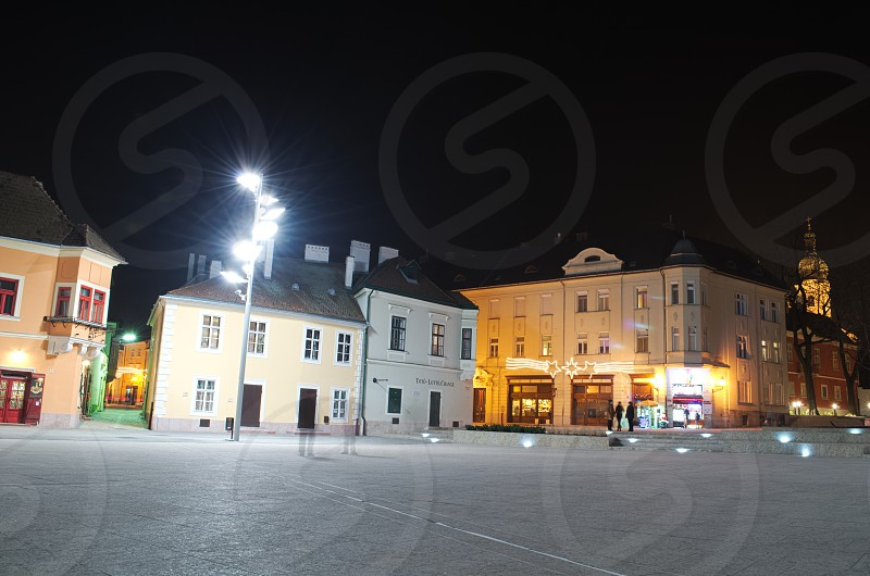 Night Lights and Christmas Decoration on the Dunakapu Square in the City Gyor photo