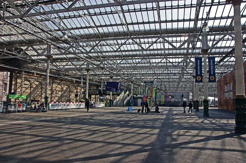 SCOTLAND. Edinburgh Waverley station. The station concourse and glass roof. photo