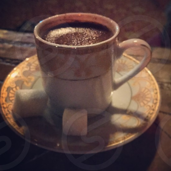 Turkish coffee sugar cubes espresso cup saucer coffee afternoon sun photo