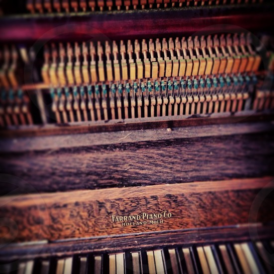 Abstract photo of an upright piano photo