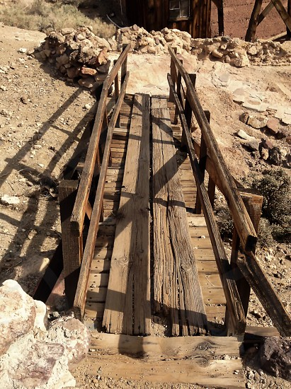 Bridge from an old 19th mining town. Calico California.  photo
