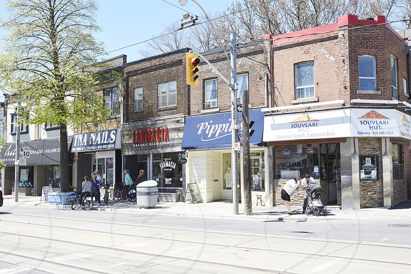 Shops and restaurants along Queen Street East in Toronto's Beaches area photo