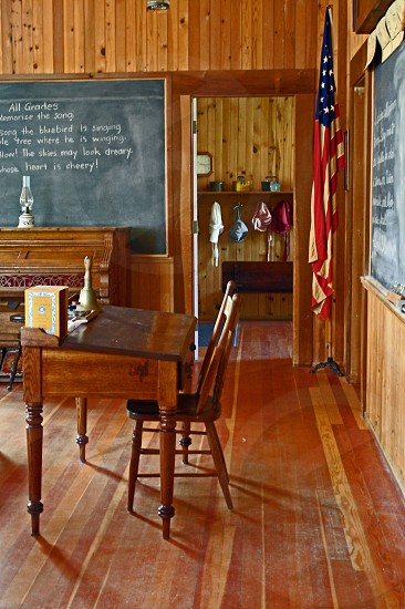 Teachers desk and the girls cloakroom circa 1898 on the first day of school. photo