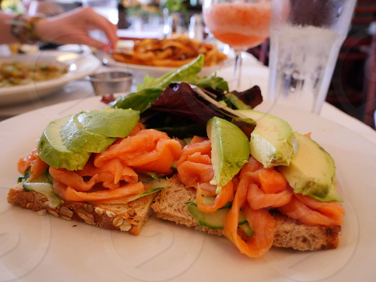 Smoked Salmon and avocado toast brunch in New York City  photo