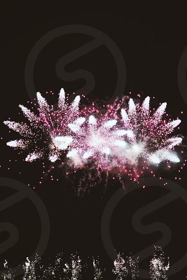 fireworks display on night time photo