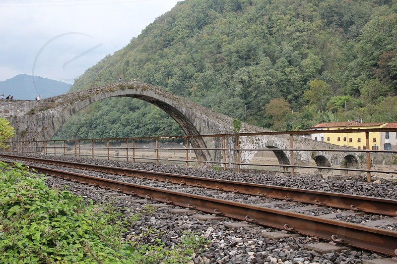 bridge Maddalena's bridge also called Devil's bridge XI sec. Borgo a Mozzano Lucca Italy photo