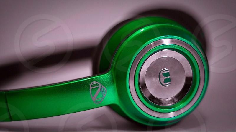 green headphones photo