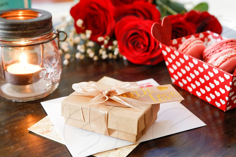 Valentines letter roses red romantic gift present macaroons photo