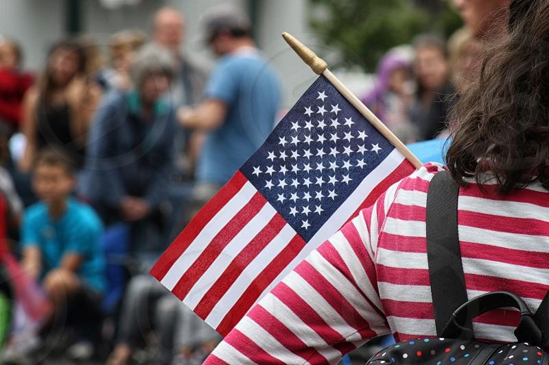 Flag America hand gift parade 4th July celebration  photo
