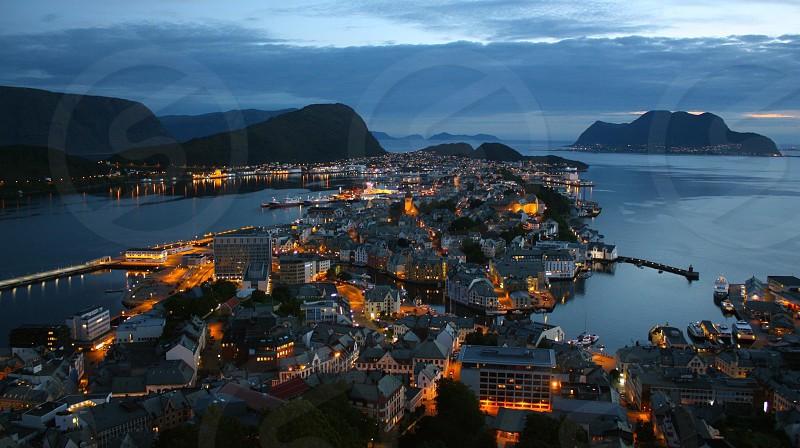 Aalesund norway scandinavia Sunset lights fjord city photo