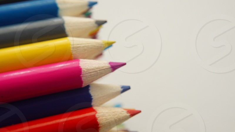 pink colored pencils photo