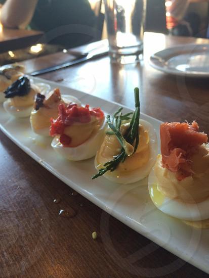 Gourmet deviled eggs photo