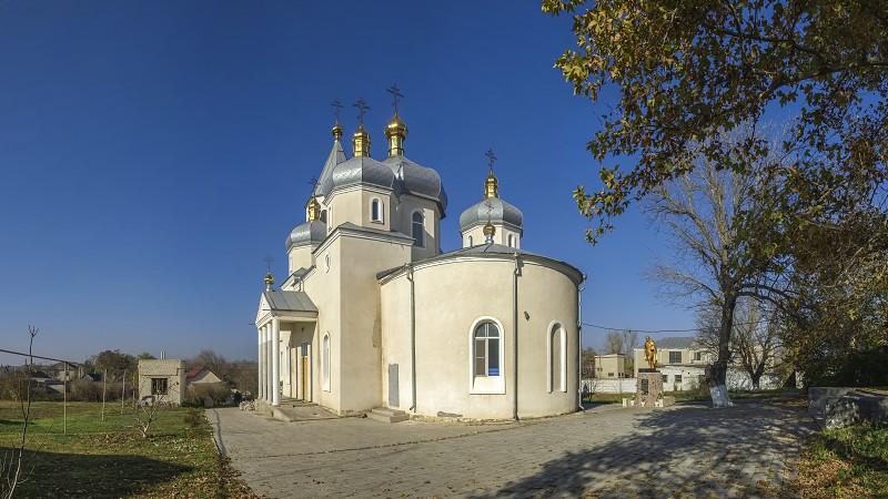 Dobroslav Ukraine - 11.19.2018. Orthodox Church under construction in Dobroslav near the memorial to the victims of the Holodomor Ukraine photo