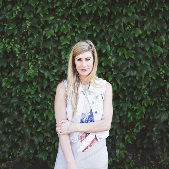 womens white bleached denim vest photo