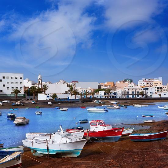 Arrecife in Lanzarote Charco de San Gines boats in Canary Islands photo