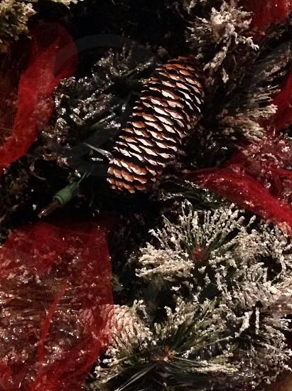 Garland; red ribbon; flocked garland; Christmas decor photo