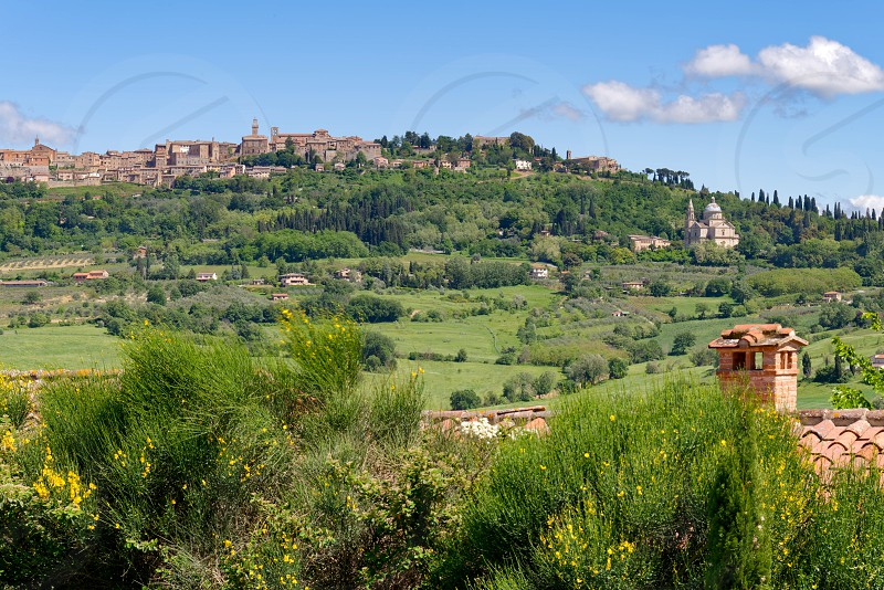 View of San Biagio Church and Montepulciano in Tuscany photo