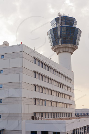 Airport control tower and administrative building in Athens Greece Europe photo