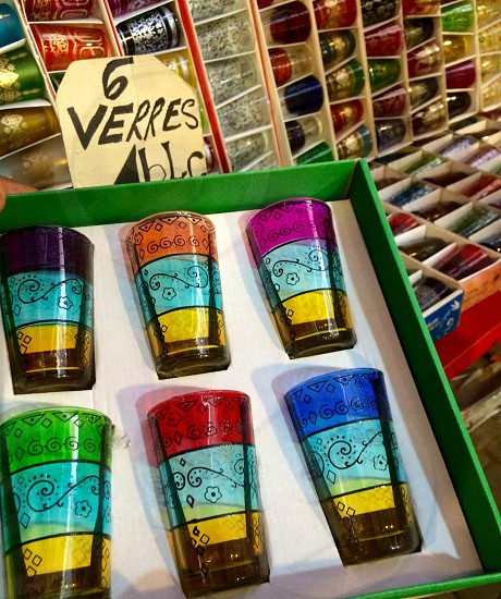 Marrakech medina market bargain glass colour pretty souvenirs photo