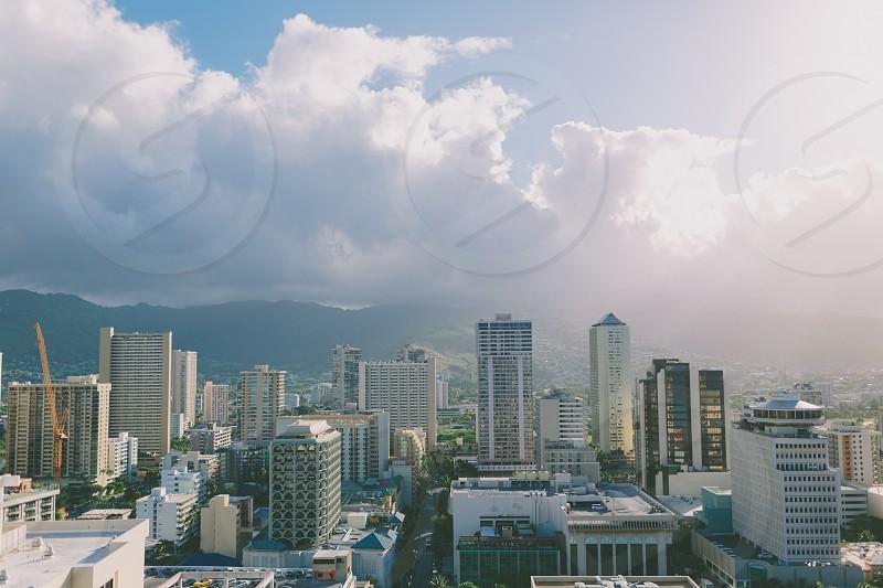 A view of the Waikiki city skyline. photo