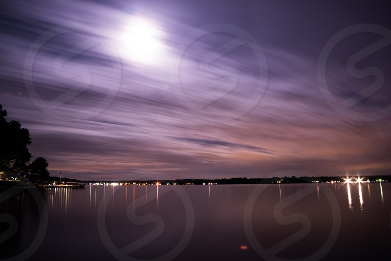 night water lights calm  photo