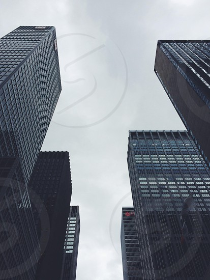 white sky over the city buildings photo