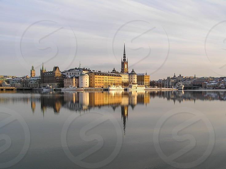 Stockholm on a lake reflection photo