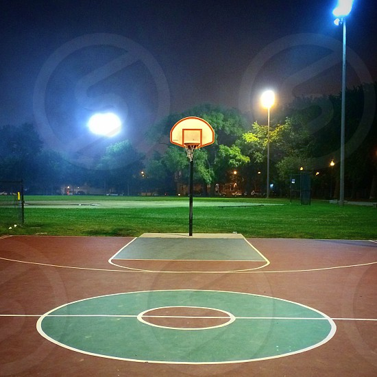 City basketball basketball court night empty court empty photo