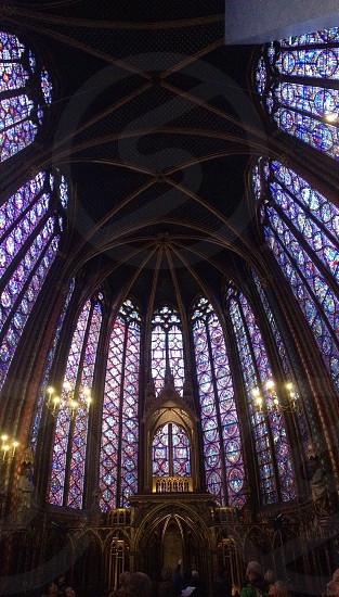 cathedral with stained glass windows photo