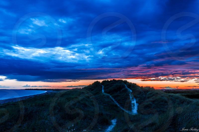 Coast sunset sea Sky dunes summer Sussex beach photo