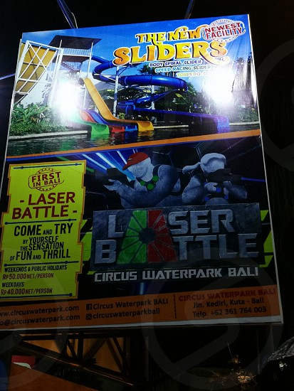 The New Sliders Laser Battle Circus Waterpark Ball advertisement poster photo
