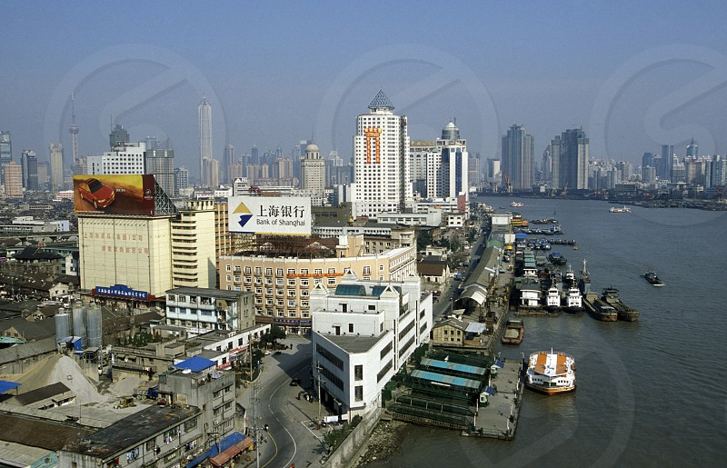 the Huangpu River in the City of Shanghai in china in east asia.  photo