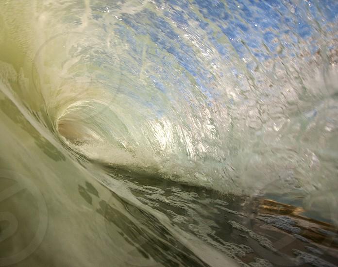 Barrel surfing.  photo