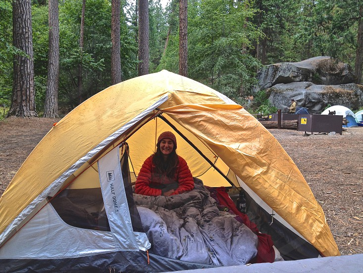 Juliana comfortable in her tent in Backpacker's Camp in Yosemite National Park photo