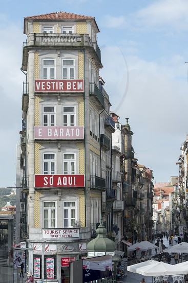 the architecture of the tourist office in Ribeira in Ribeira in the city centre of Porto in Porugal in Europe. photo