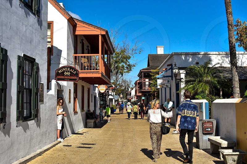 St. Augustine Florida. January 26  2019 . People enjoying colonial experience in St. George St. in Old Town at Florida's Historic Coast  (8) photo