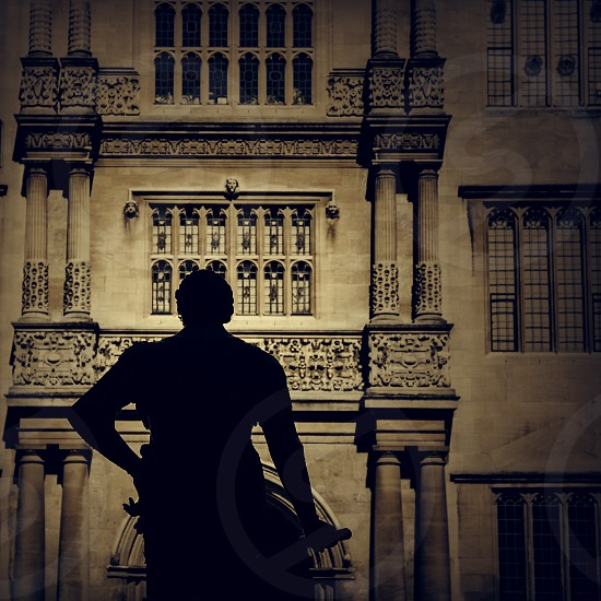 The silhouette of a statue at Oxford University. photo