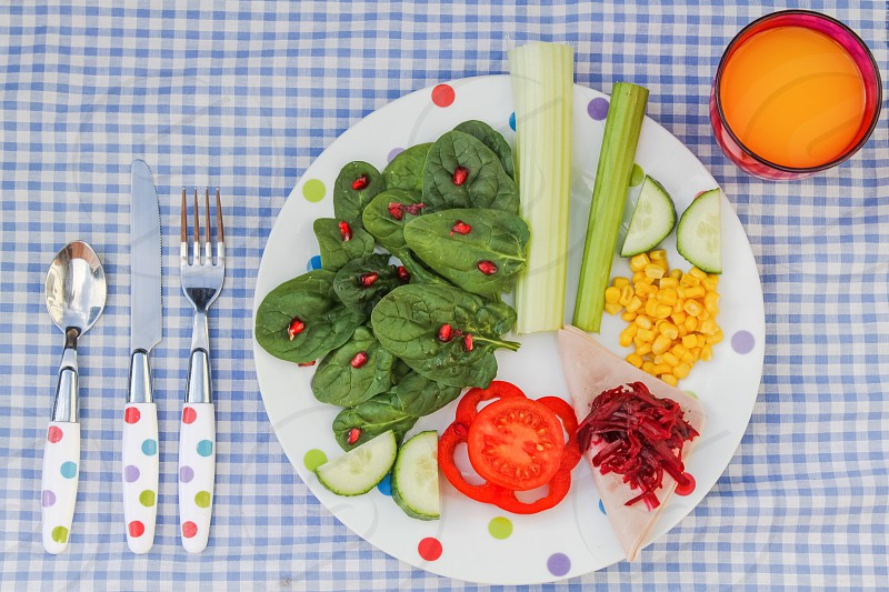 lettuce tomatoes cucumber and corn flakes salad with vinegar photo