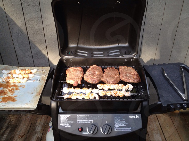 Cookout steaks and shrimp photo