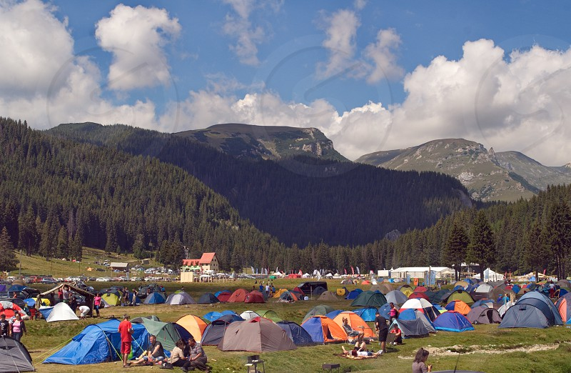 Tents and tourists in PadinaRomania photo