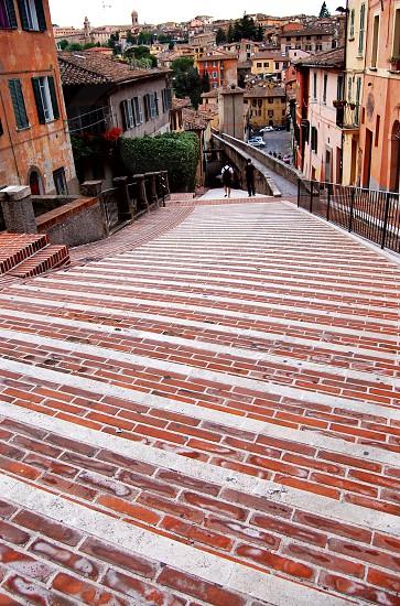 italy. steps. brick work.  photo