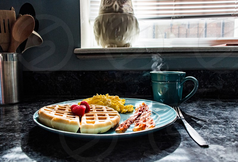 breakfast coffee waffle bacon eggs brunch sunrise sun kitchen fruit home comfort cozy warm photo