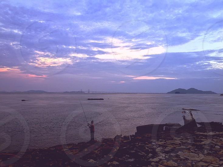 Fishing Ocean Urban Landscape Shore Penang Bridge Pulau Pinang Malaysia Sunset Cloud Evening Peaceful Retire photo