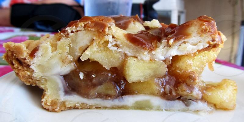 Caramel apple pie slice photo