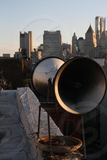 gray and black speaker horns photo